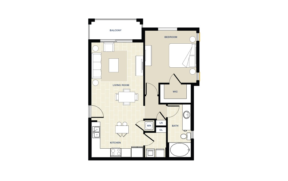 1 bedroom 1 bath 794 sq.ft.