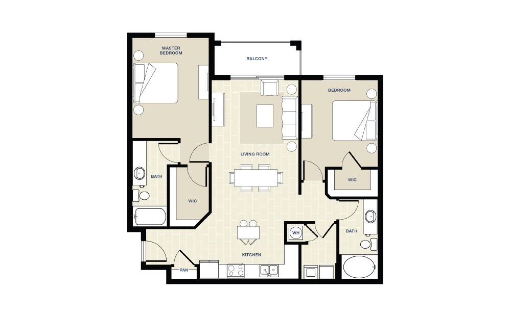 2 bedroom 2 bath 1158 sq.ft.
